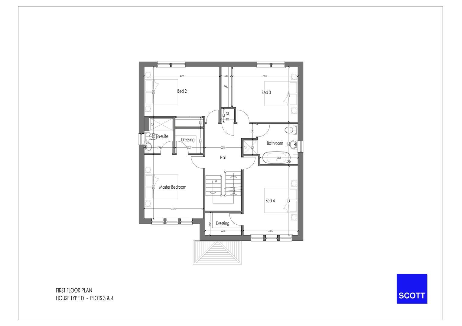 Type D - Detached Plots 3 & 4 - First Floor Plan[1