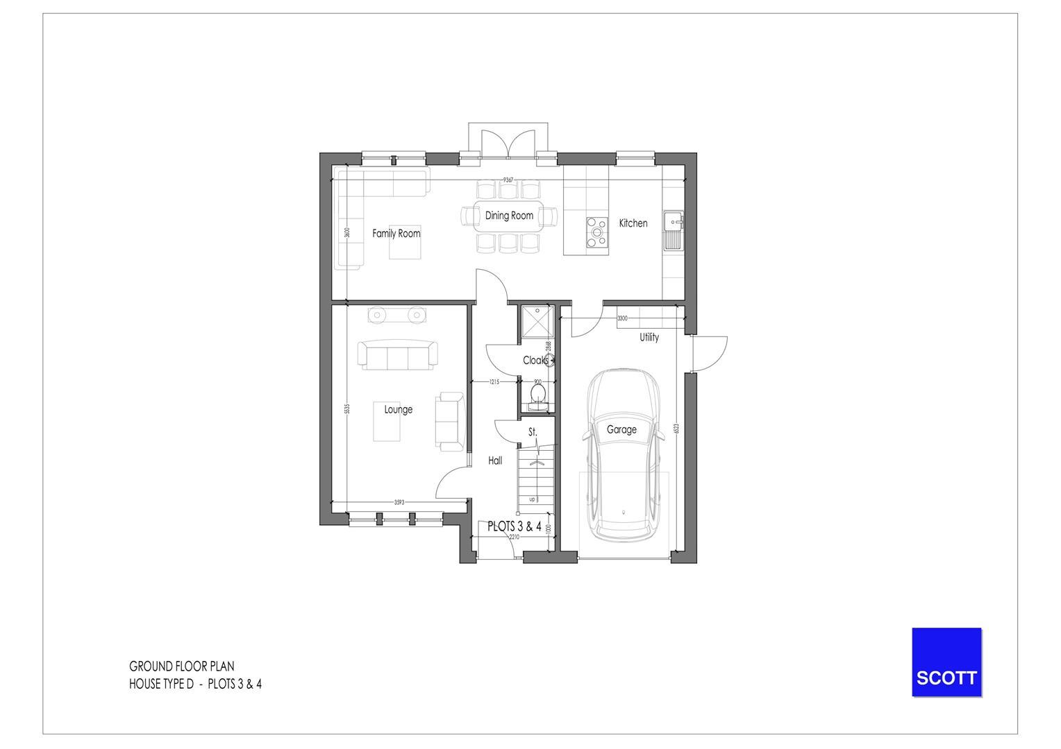 Type D - Detached Plots 3 & 4 - Ground Floor Plan.