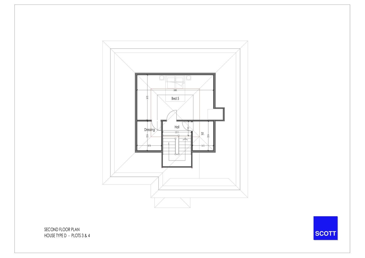 Type D - Detached Plots 3 & 4 - Second Floor Plan.