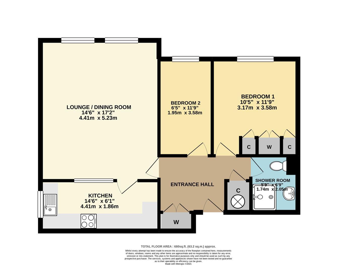 Floorplan - 2 Bed - Cotsmoor, St Albans